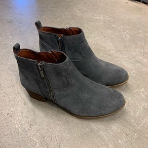 Zippered Suede Lucky Brand Ankle Booties Size 8